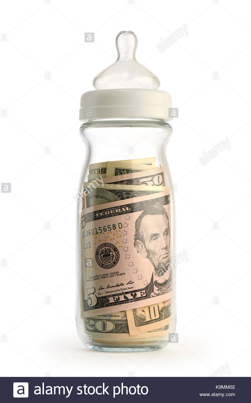 Cost of raising a child concept. Isolated baby bottle filled with money. - Stock Image