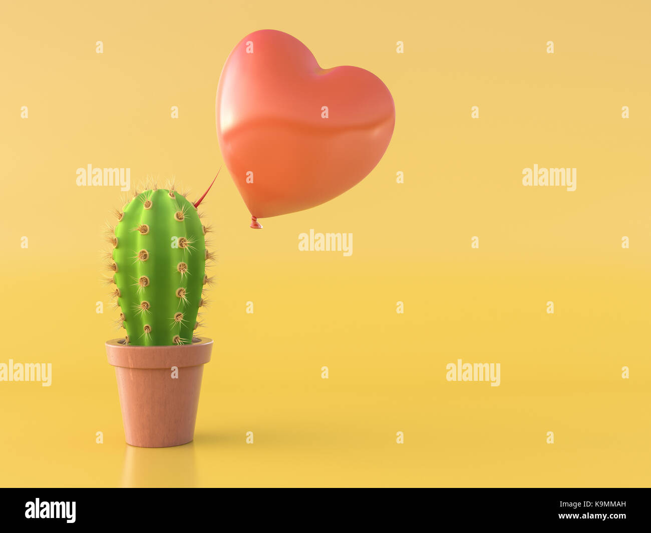 Balloon hovering over a cactus with a red thorn - Stock Image
