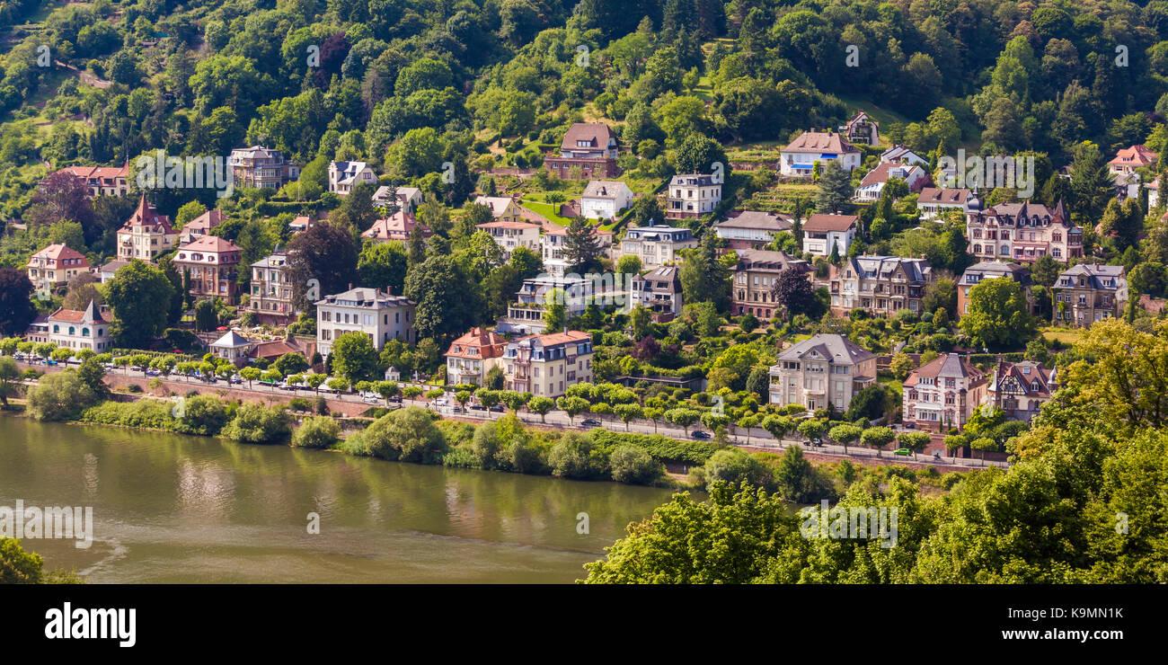Deutschland, Baden-Württemberg, Heidelberg, Fluss Neckar, Villenviertel, Villen, Immobilien, Luxus, Wohnungen, - Stock Image