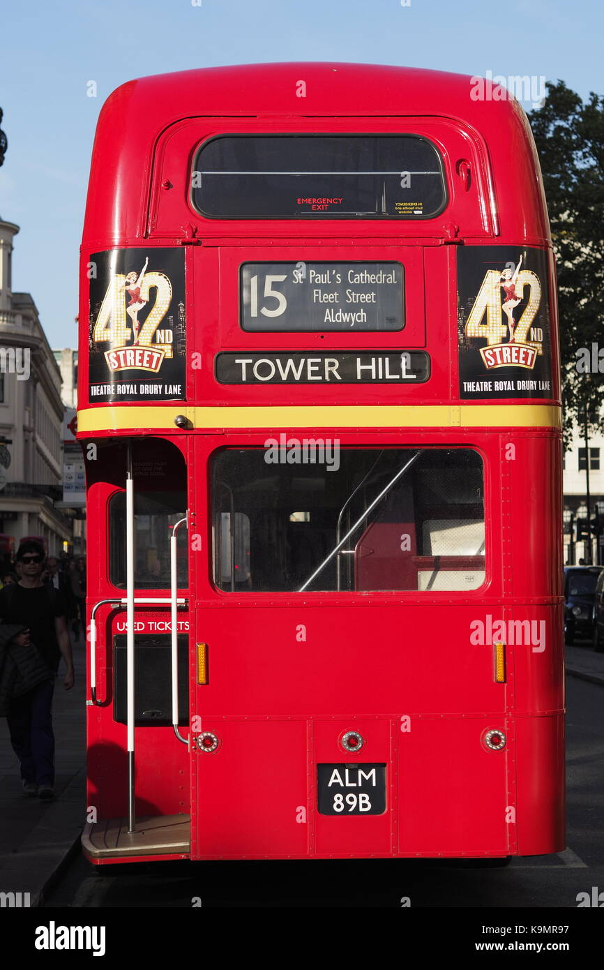 Back of London Red Routemaster Bus - Stock Image