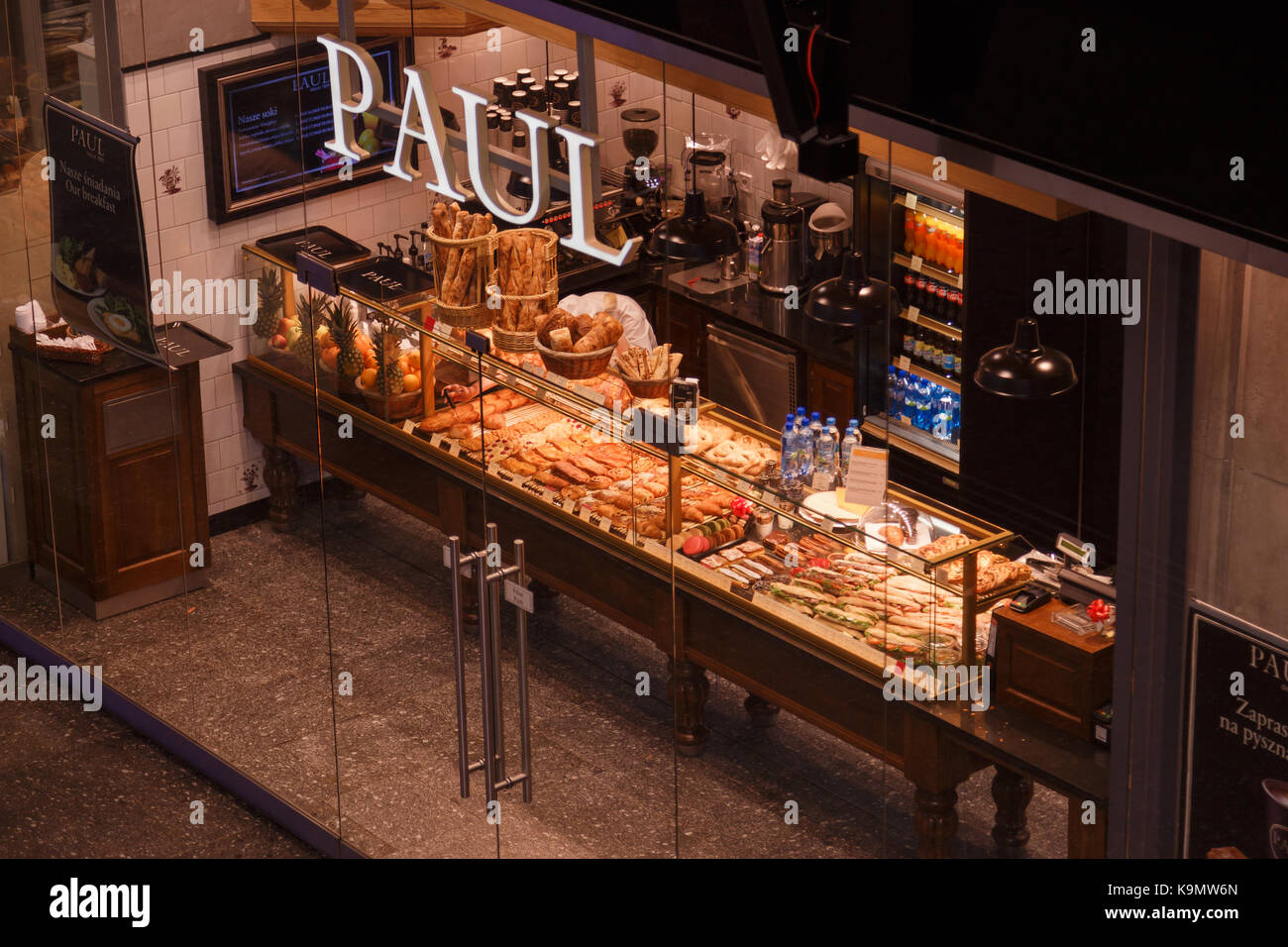 WARSAW, POLAND - SEPTEMBER 17, 2017: Pastry traditional francian backery Paul at the central railway station - Stock Image