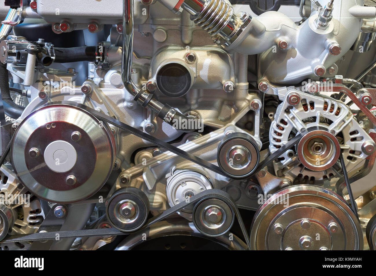 Front view of internal combustion engine of the truck Stock Photo