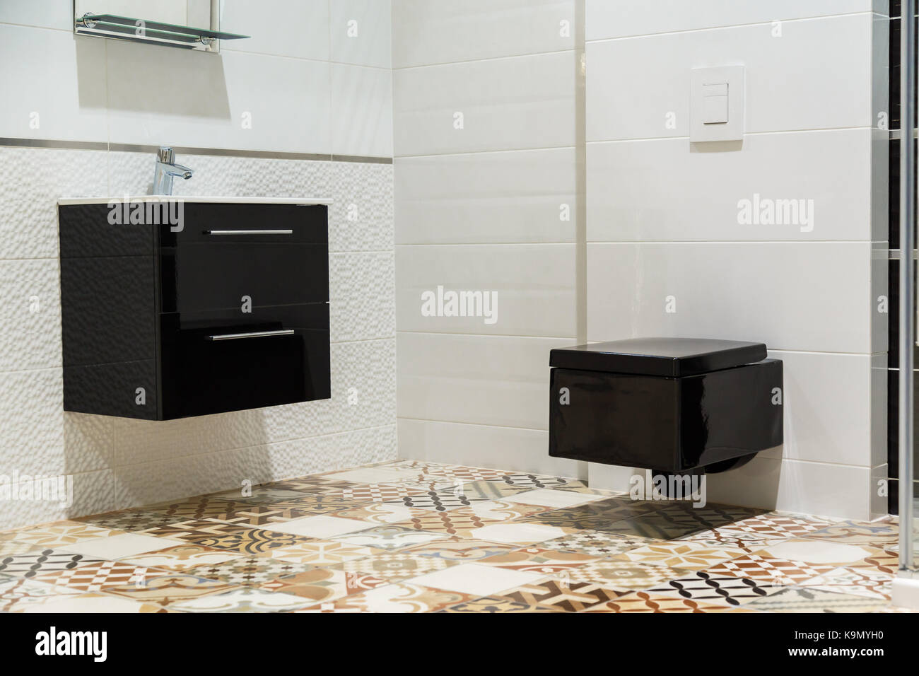 Luxury design of bathroom with black toilet bowl and washbasin Stock ...