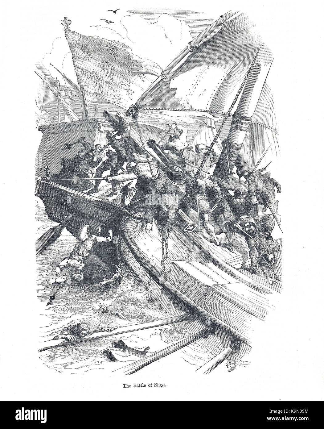 The Battle of Sluys, 24 June 1340.  Sea battle fought between England and France, one of the opening conflicts of - Stock Image