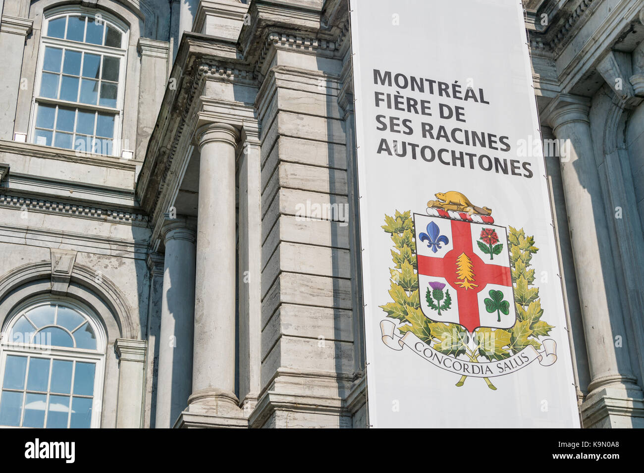 New montreal coat of arms now includes a new symbol (white pine) to represent First Nations on the flag (2017) - Stock Image