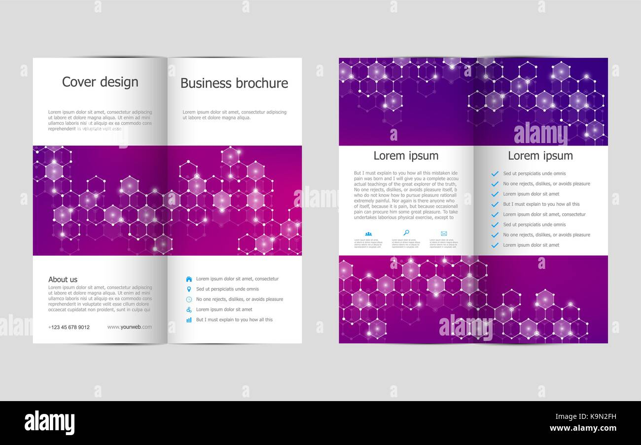 Bi Fold Brochure Template Design Geometric Stock Photos Bi Fold