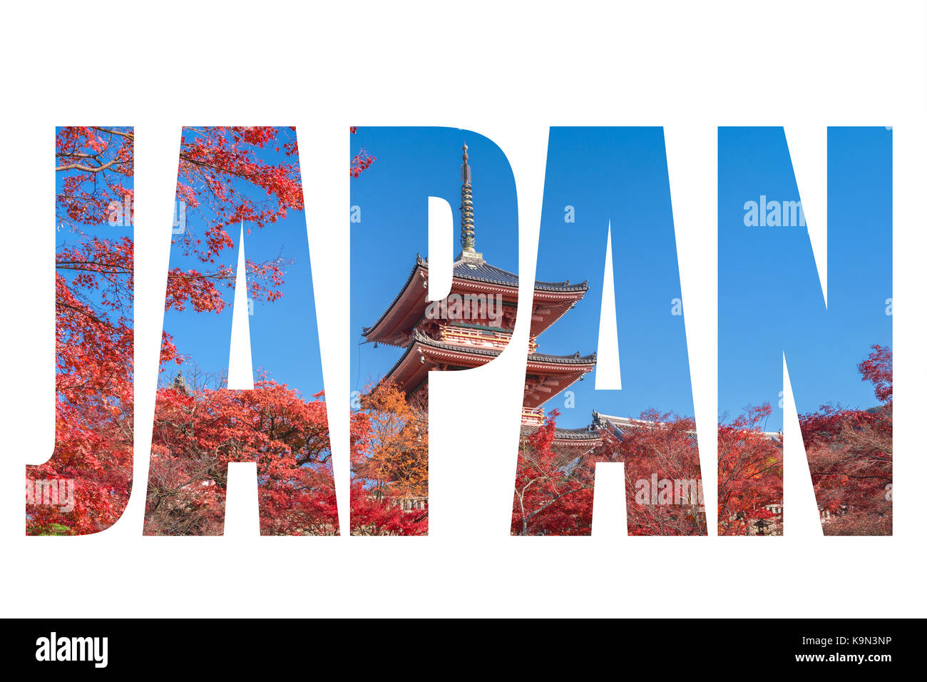 Word JAPAN over The red pagoda of with autumn maple leaves in kyoto city, Japan - Stock Image