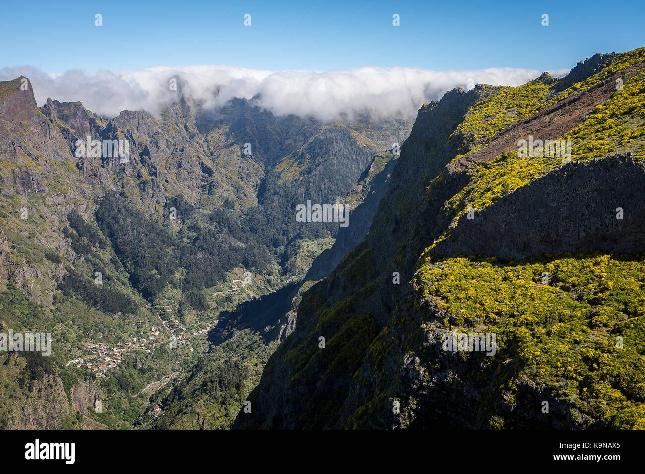 Landscape and Curral das Freiras, Madeira, Portugal - Stock Image
