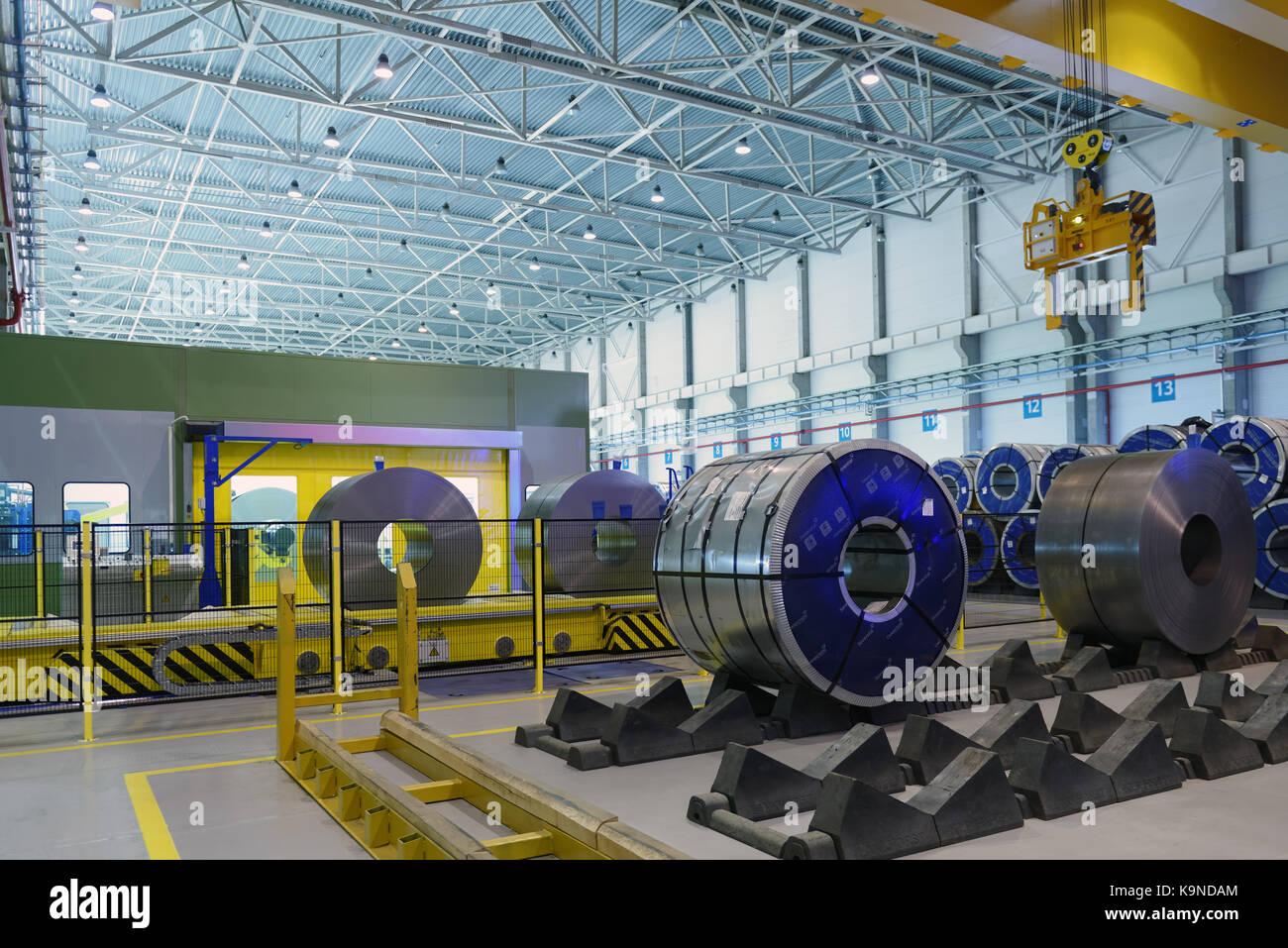 Vsefolozhsk, Leningrad oblast, Russia - June 5, 2015: Presentation of the joint enterprise Severstal-SSC-Vsevolozsk. - Stock Image