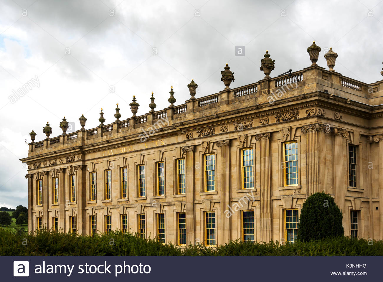 Chatsworth House, exterior building, stately home. - Stock Image