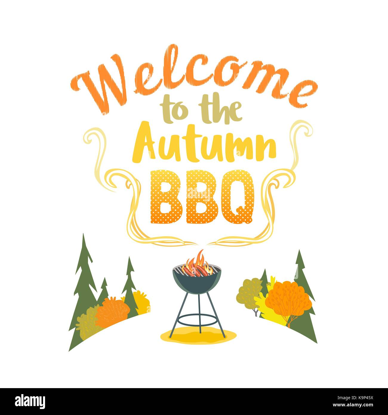 Autumn outdoors concept. Cartoon retro style poster. Welcome invitation to barbecue picnic. Season fall holiday - Stock Image