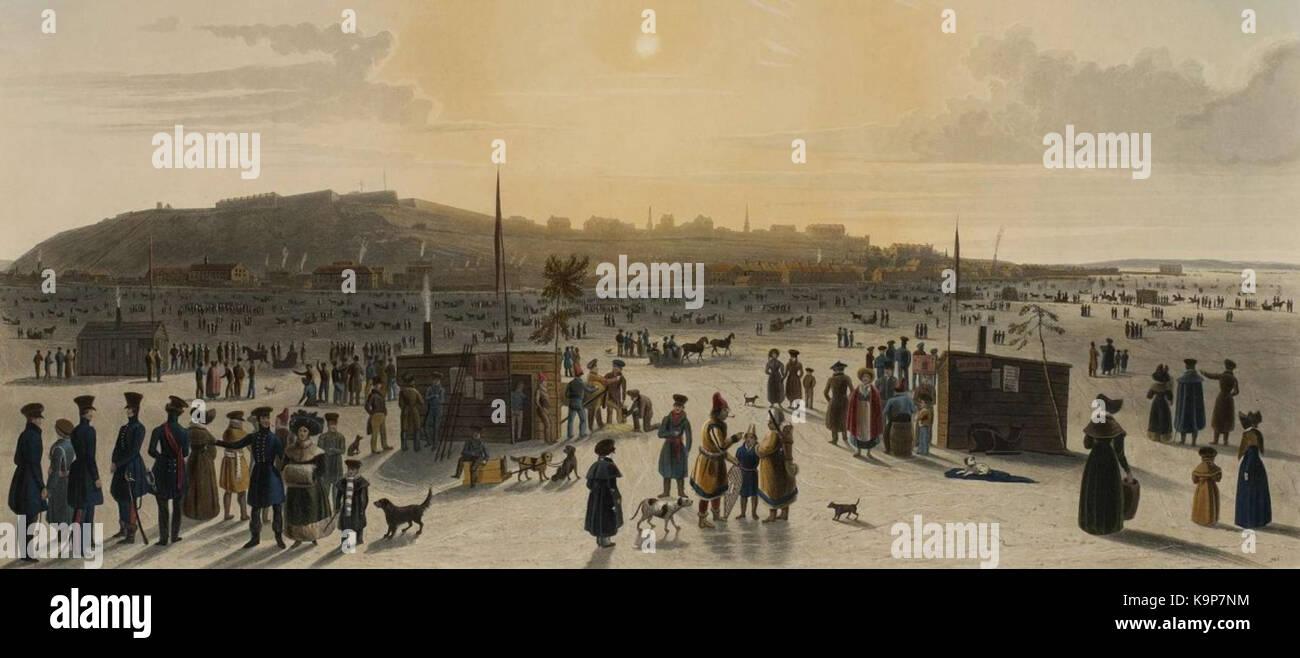 Pont de glace entre Quebec et Levis 1833 - Stock Image