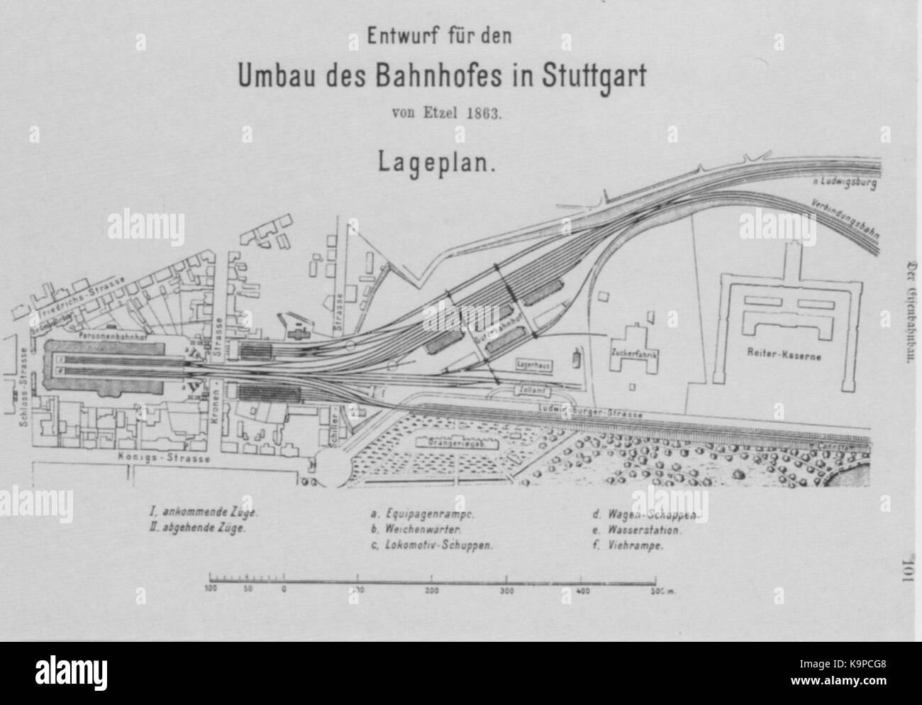 Planskizze alter Bahnhof Stuttgart 1863 Stock Photo: 160918024 - Alamy