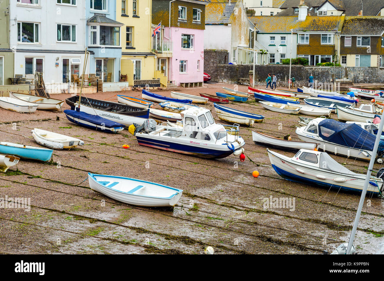 Boats moored on a beach in Teignmouth, Devon, England, UK Stock Photo