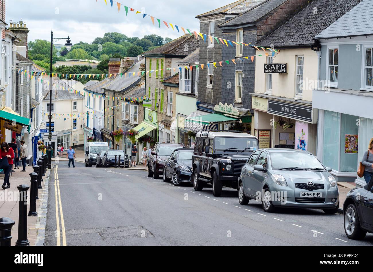 Fore Street, Kingsbridge market town in South Hams, Devon, England, UK - Stock Image
