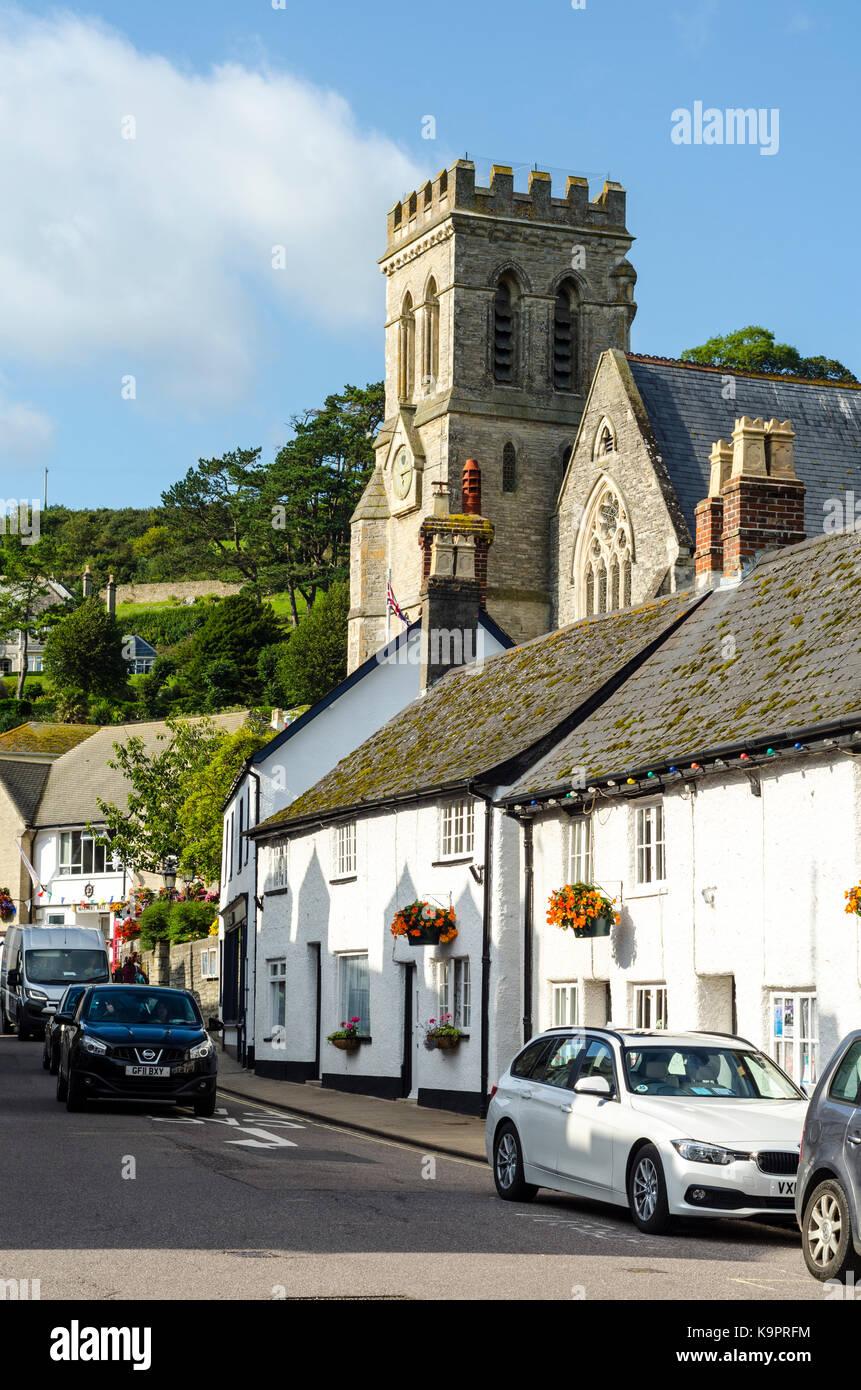 The Church of St Michael St. Michaels Church Beer, English Seaside Coastal town, East Devon Coast, England, UK Stock Photo