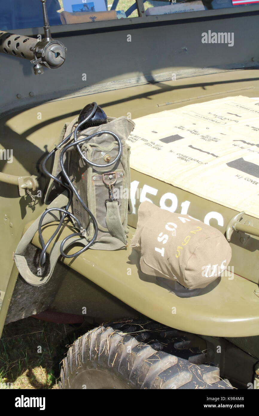 Ww2 Willys Jeep With Communications Equipment Displayed On Hood Electrical Wiring