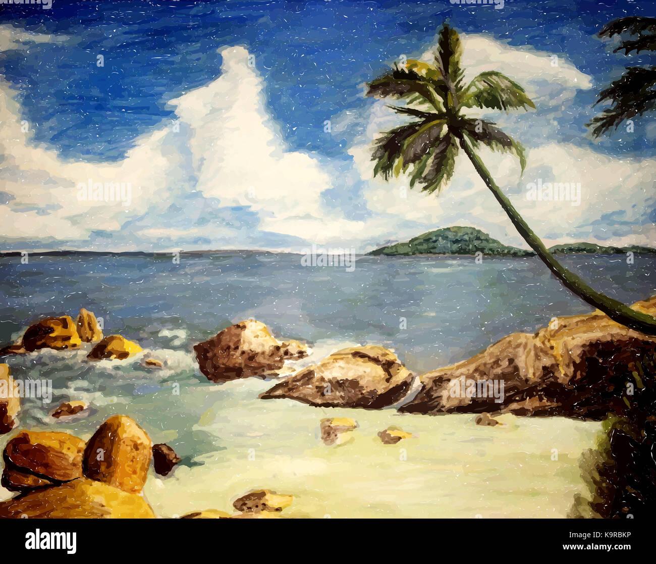 paradise tropical island. beach with palm, sand and sea. Stock Photo