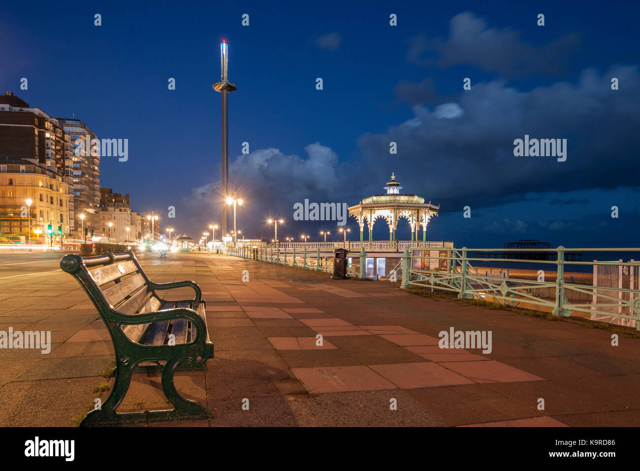 Evening on Brighton seafront, East Sussex, England. i360 viewing tower and Brighton Bandstand in hte distance. - Stock Image