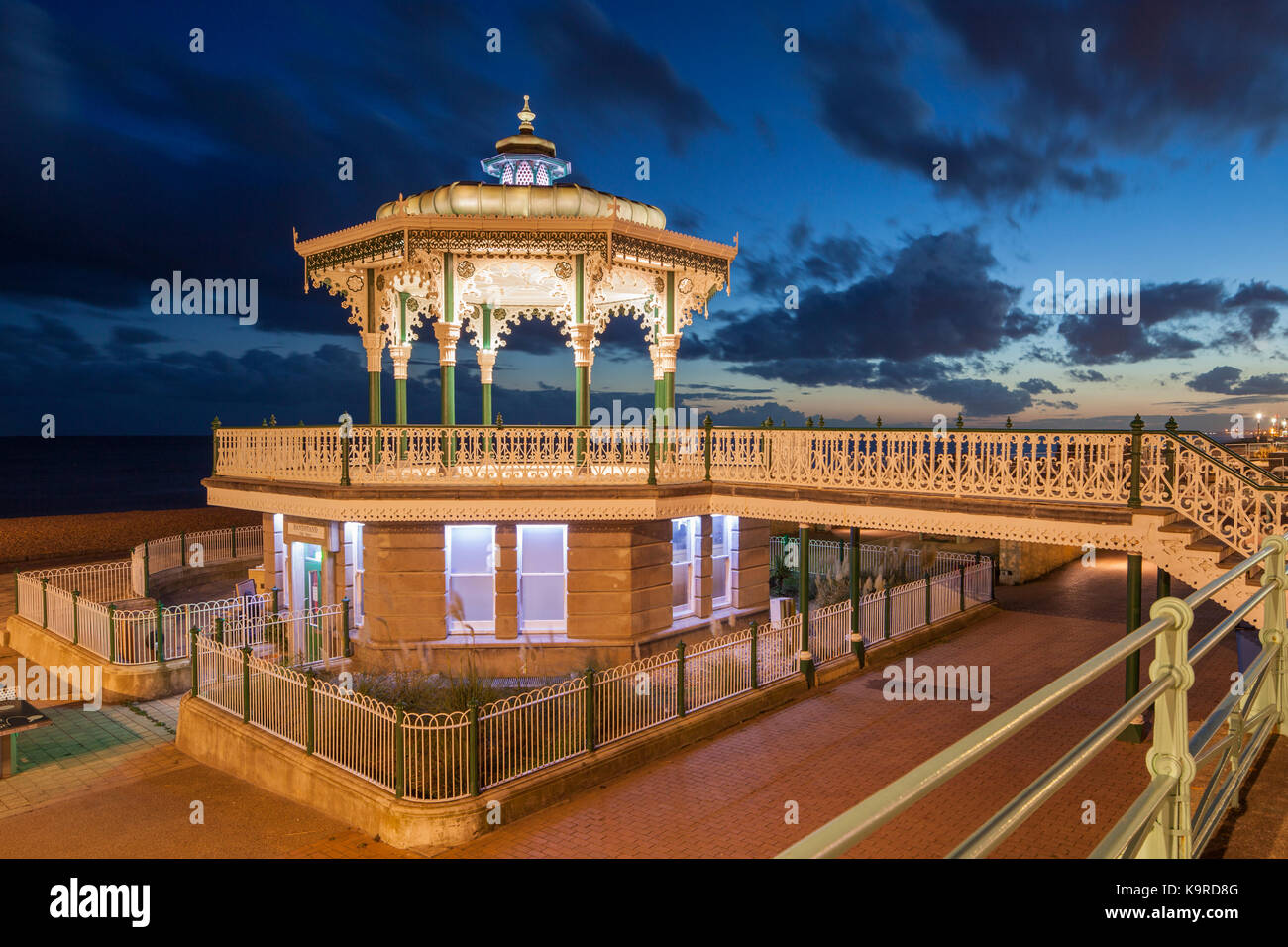 Evening at Brighton Bandstand, East Sussex, England. - Stock Image