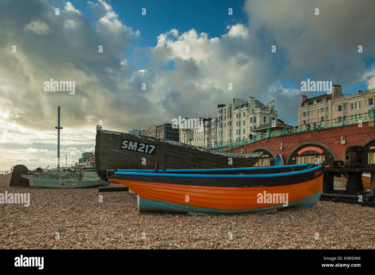 Evening on Brighton beach, East Sussex, England. - Stock Image