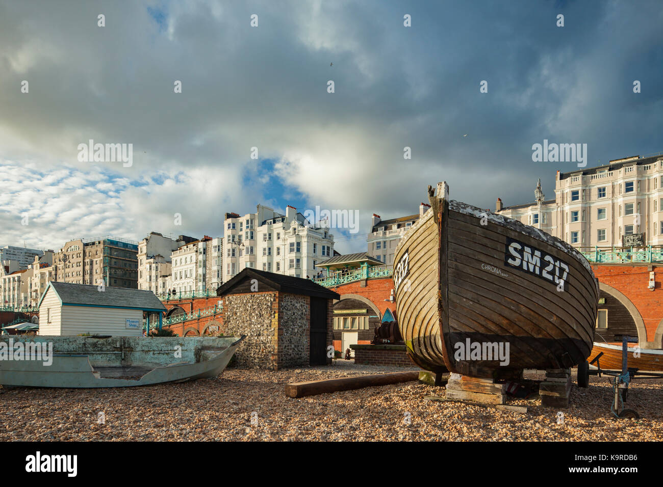 Afternoon on Brighton beach, East Sussex, England. Stock Photo
