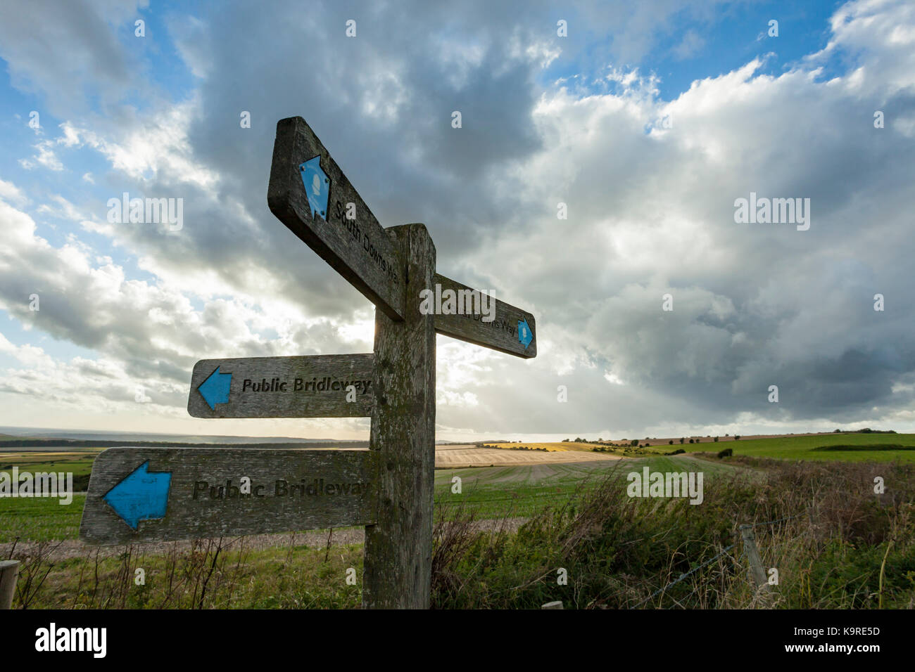 Signpost on South Downs Way in West Sussex, England. - Stock Image