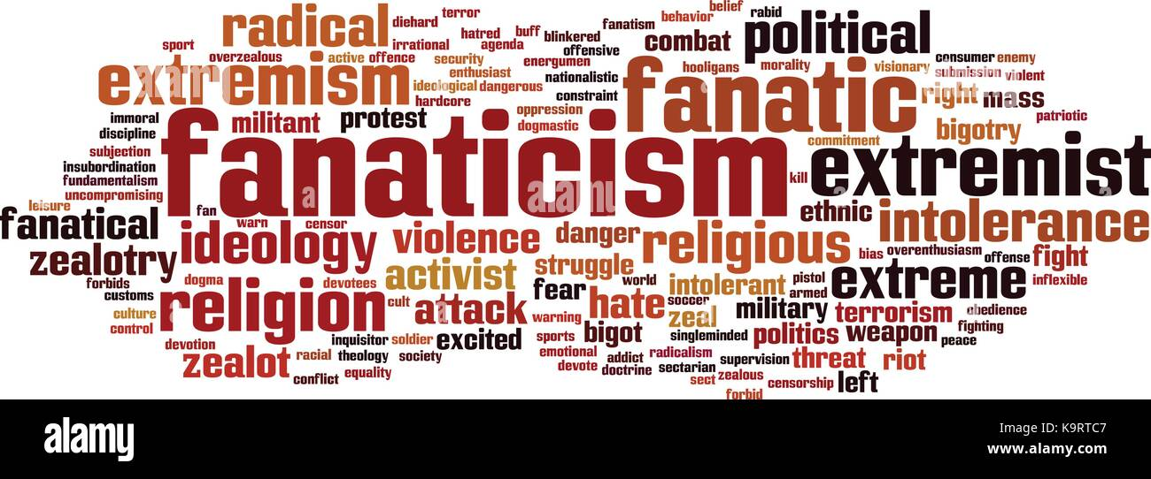 Fanaticism word cloud concept. Vector illustration - Stock Image