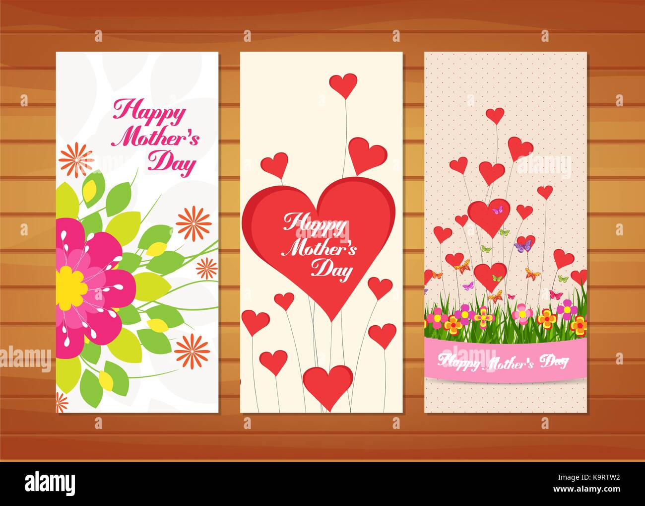 Floral Mother's Day Cards - Stock Vector