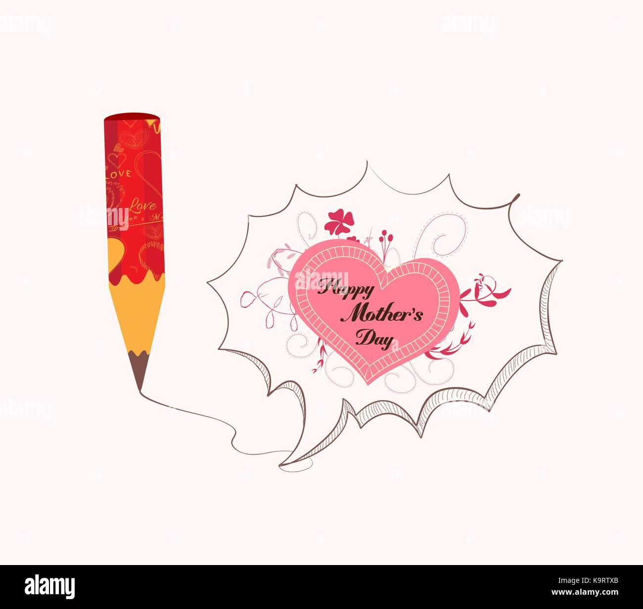 Mothers day with pencil drawing love heart bubble card