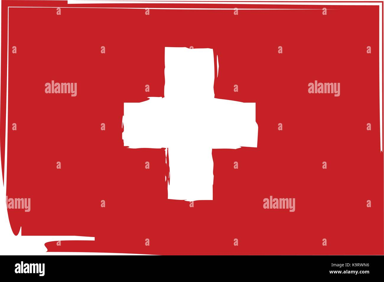 Grunge SWITZERLAND flag or banner vector illustration - Stock Vector