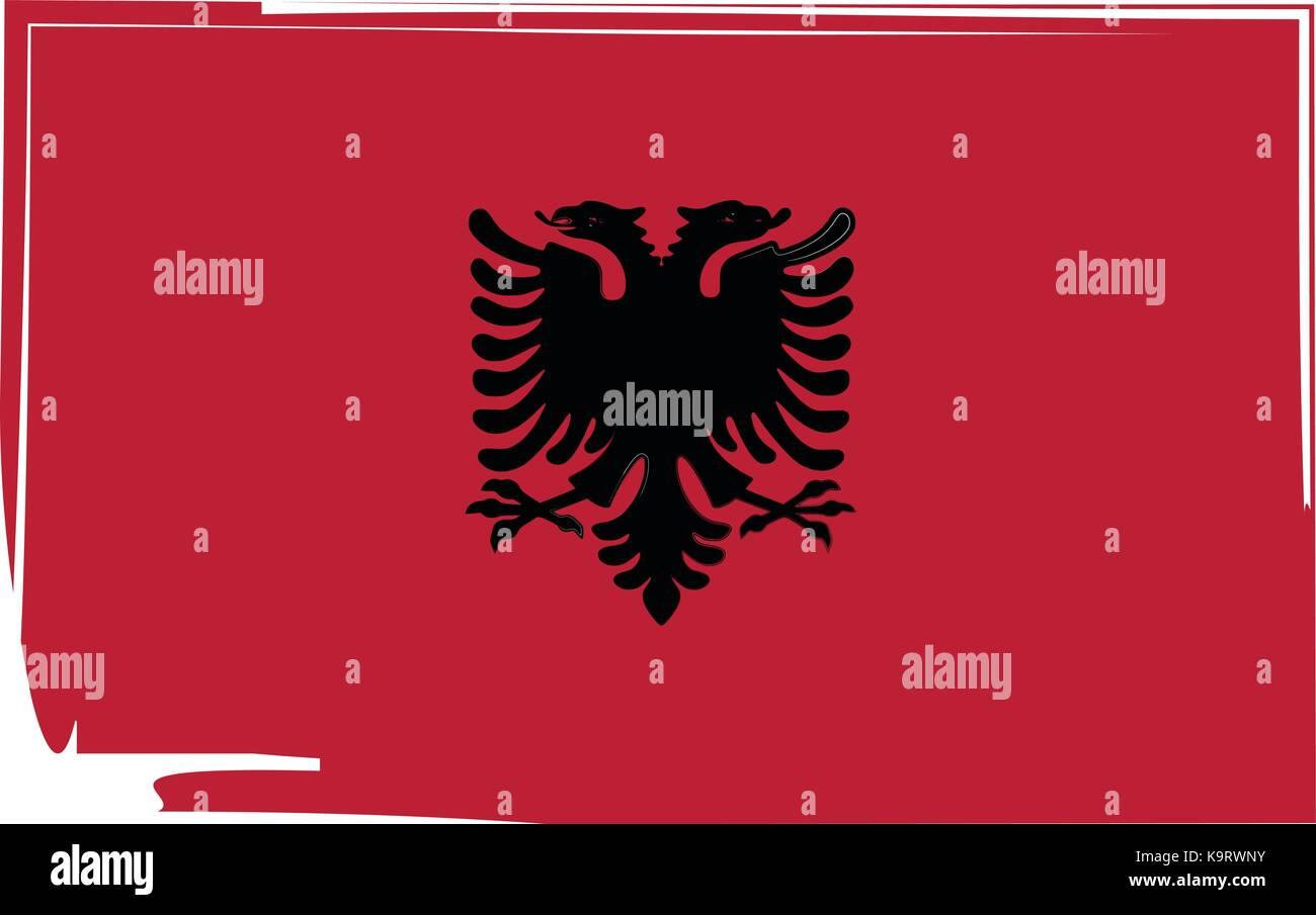abstract Albania flag or Albanian banner vector illustration - Stock Image