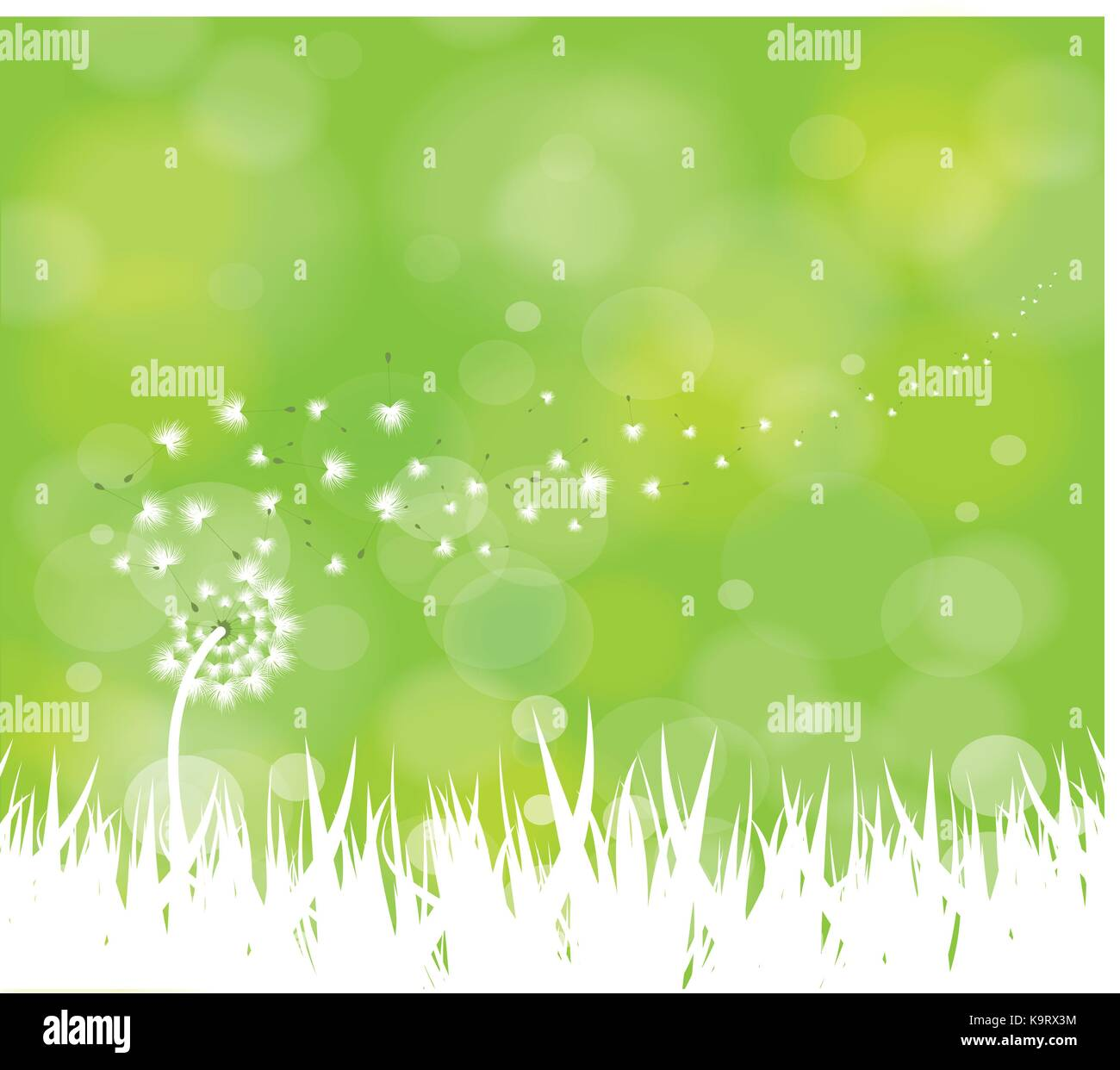 c1e8ff73d586e spring background with white dandelions Stock Vector Art ...