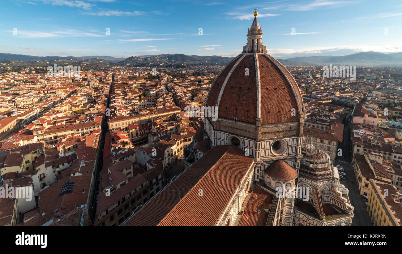 Sunrise over the Duomo in Florence Italy - Stock Image