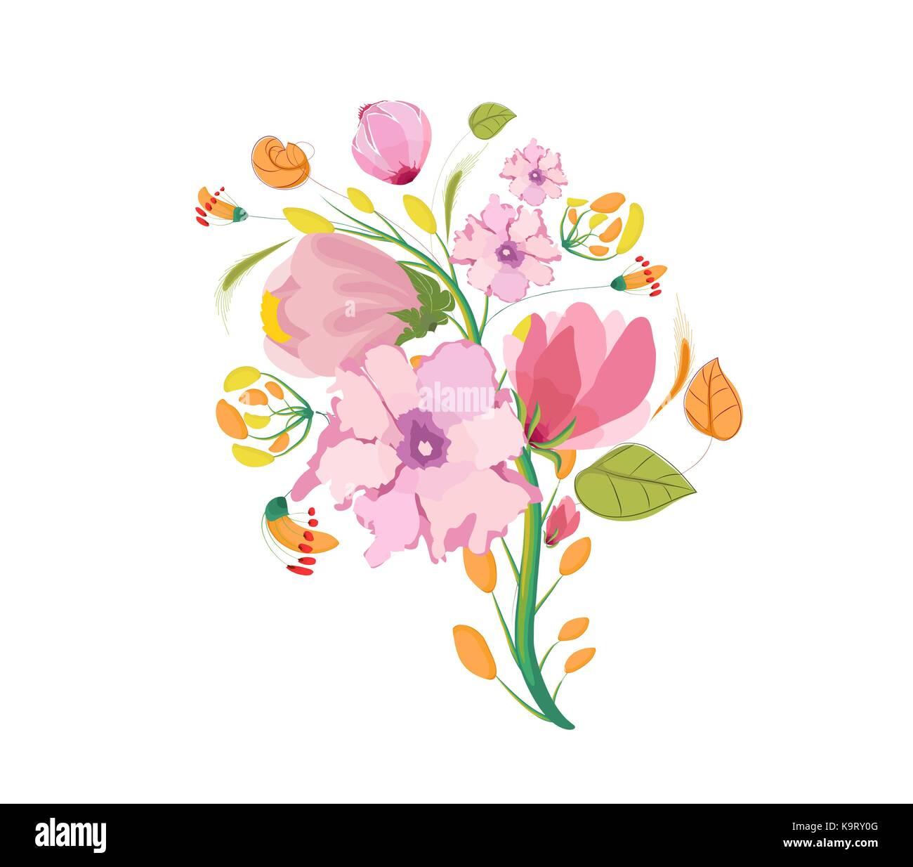 Flower Bouquet Watercolor Clipart Stock Vector Art & Illustration ...