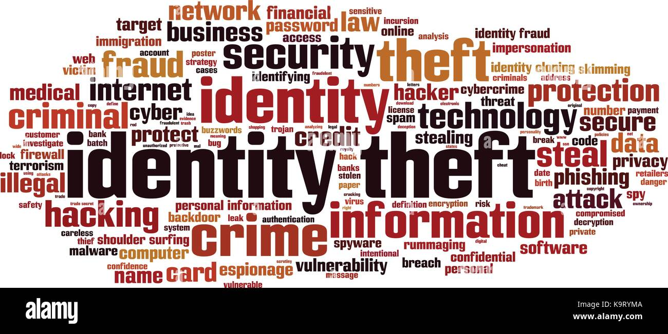 Identity theft word cloud concept. Vector illustration - Stock Vector