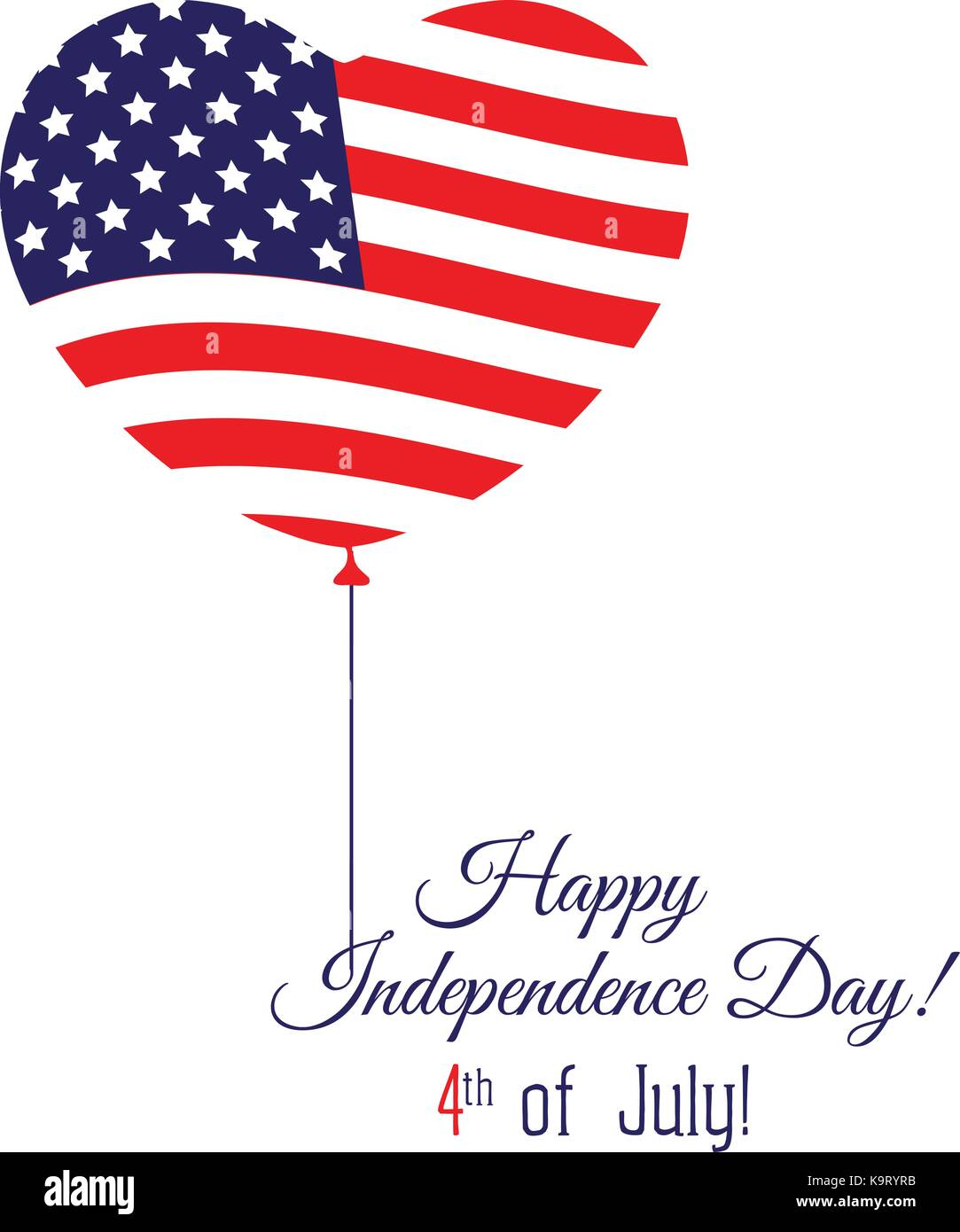 Independence day of the USA typographical background. Shining realistic balloons - Stock Image