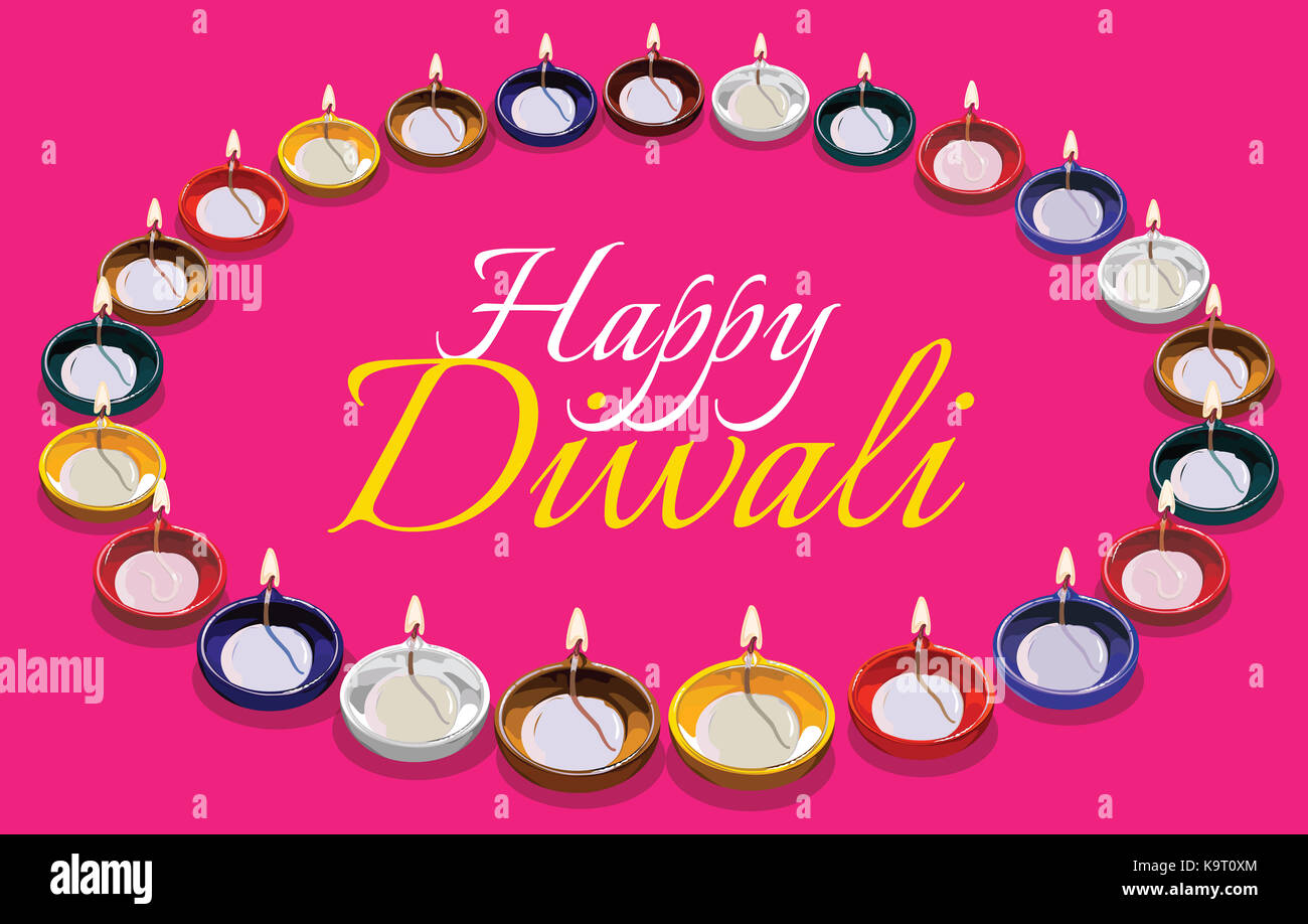 Diwali greeting card illustration using traditional illuminated oil clay lamp or Diya with happy diwali text Stock Photo