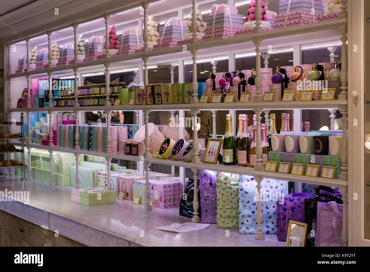 Ladurée shop within Printemps department store, Paris, France - Stock Image