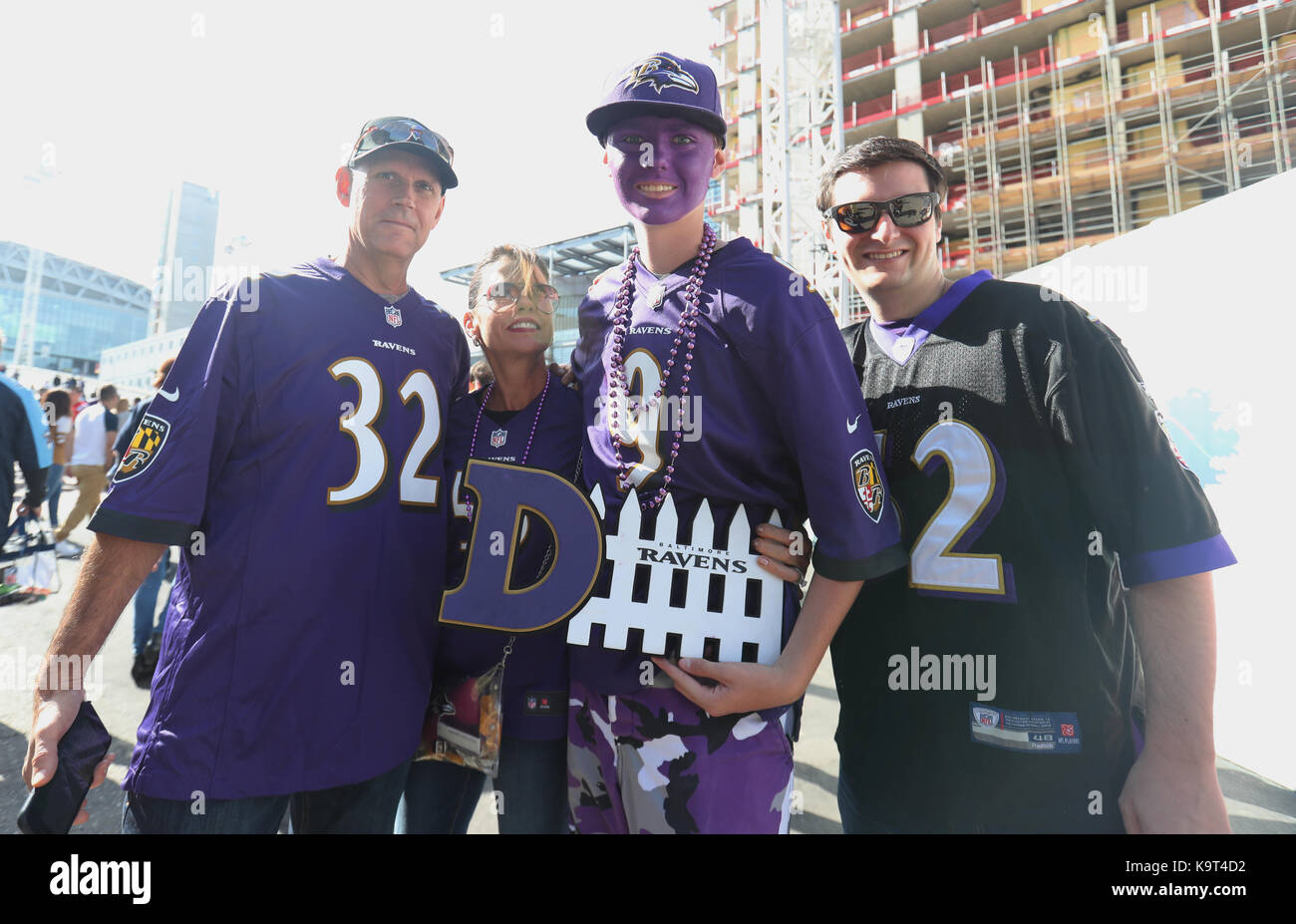 Baltimore Ravens fans pose for a picture before the NFL  free shipping
