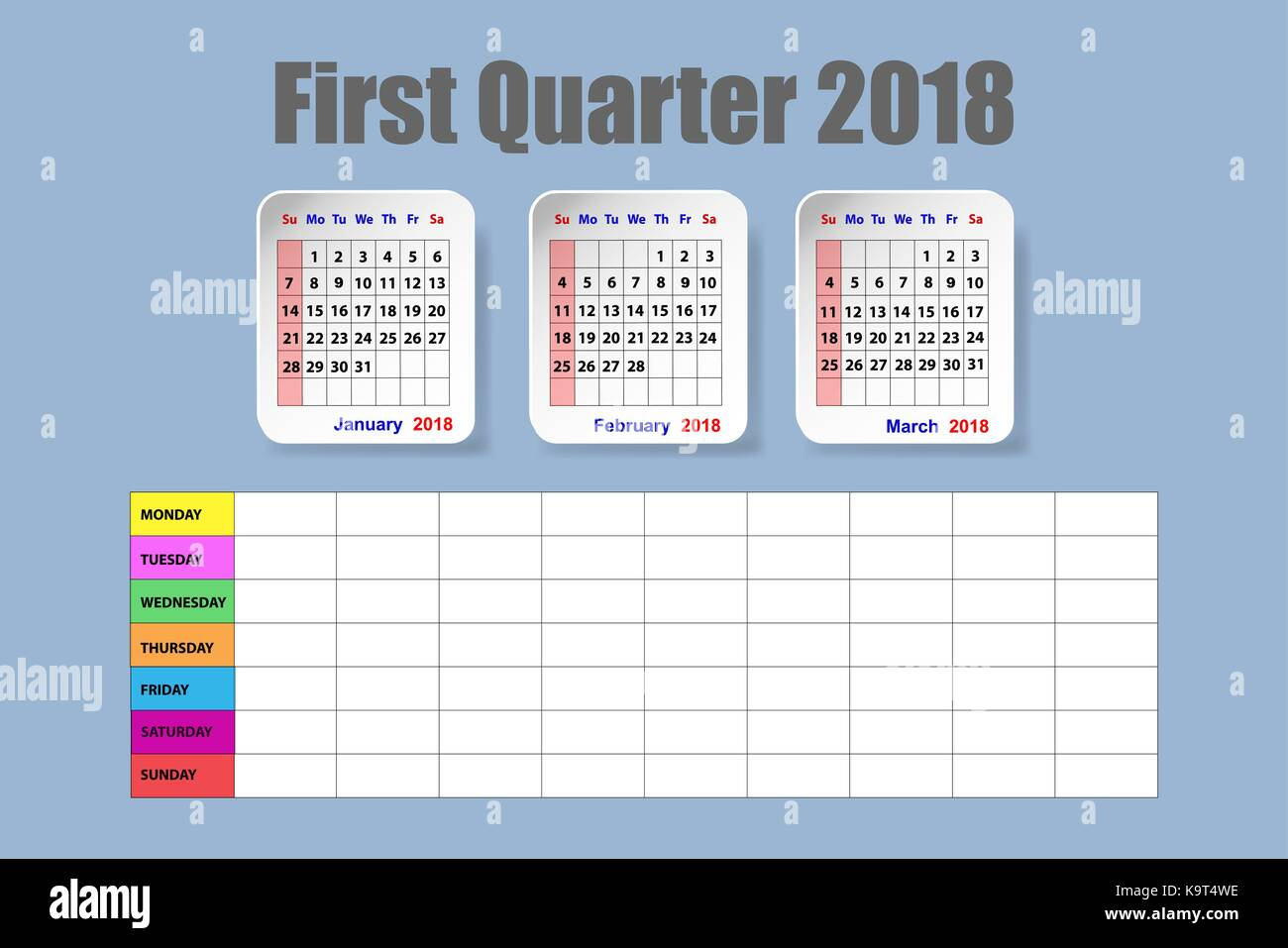 calendar for first quarter of 2018 year on the blue background with the empty weekly schedule
