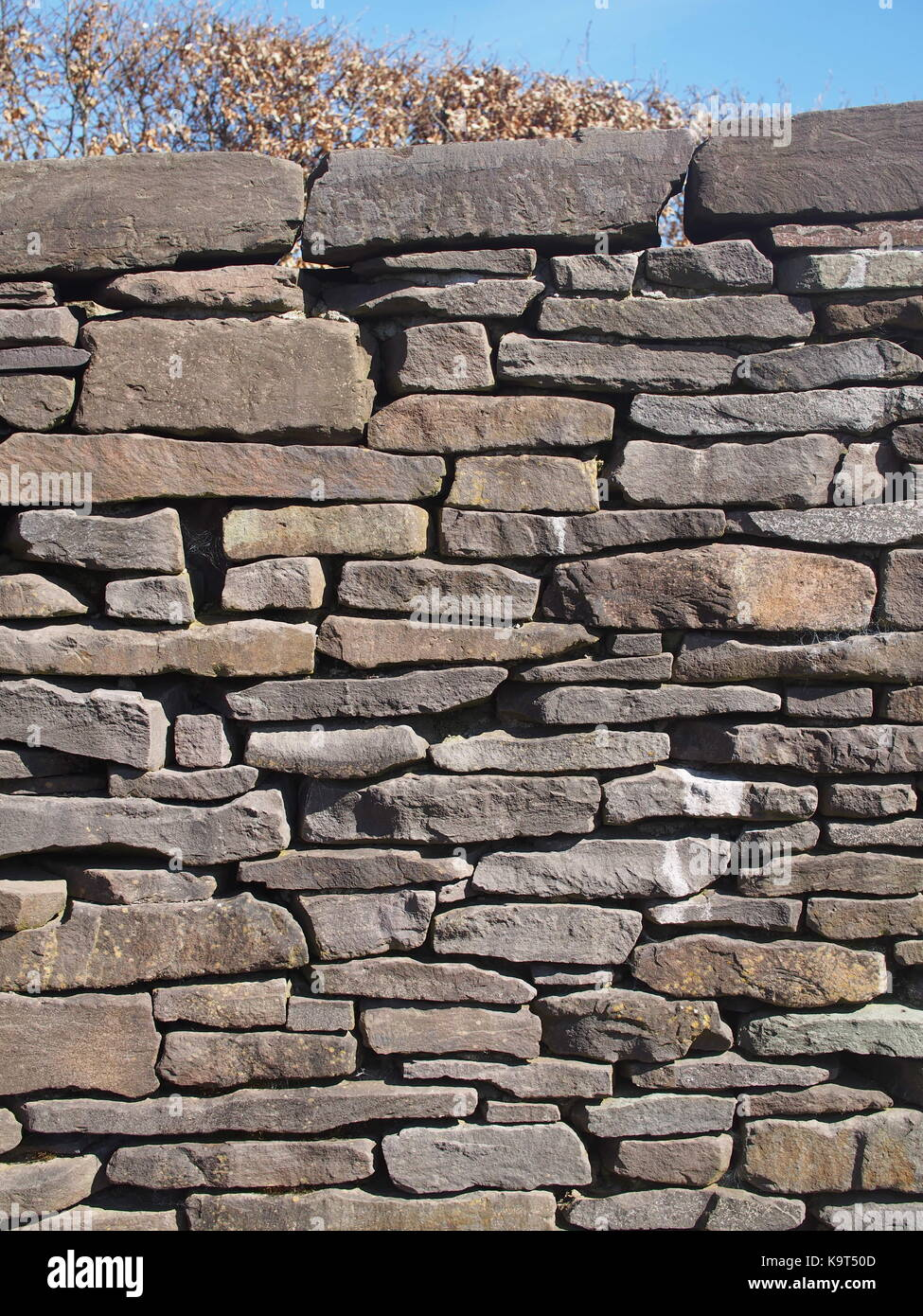 Detail of dry stone wall in Wales made from Old Red Sandstone - Stock Image