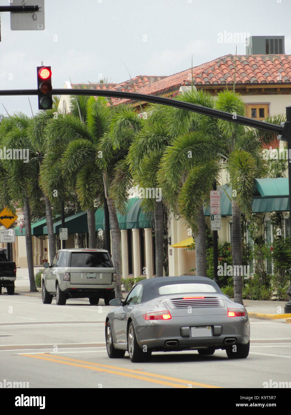 Luxurious cars - Worth Avenue of Palm Beach, Florida (USA) Stock Photo