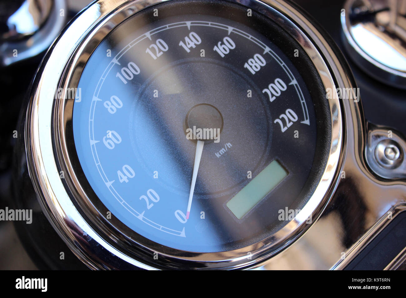 Speedometer of Motorcycle. Black and White Motorcycle Speedometer - Stock Image