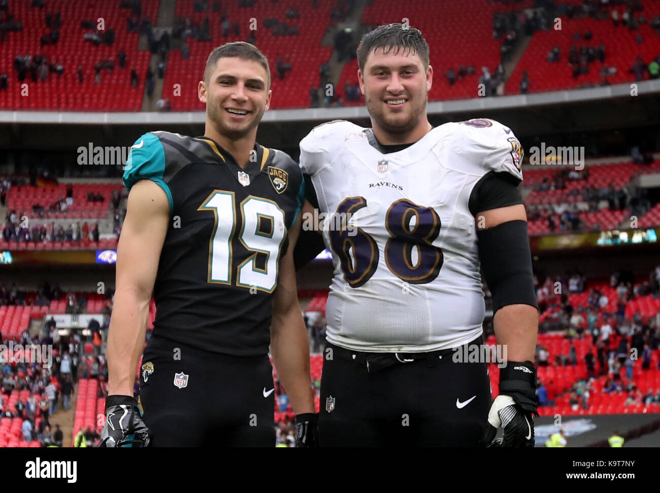Baltimore Ravens' Matt Skura (right) and Jacksonville Jaguars' Max ...