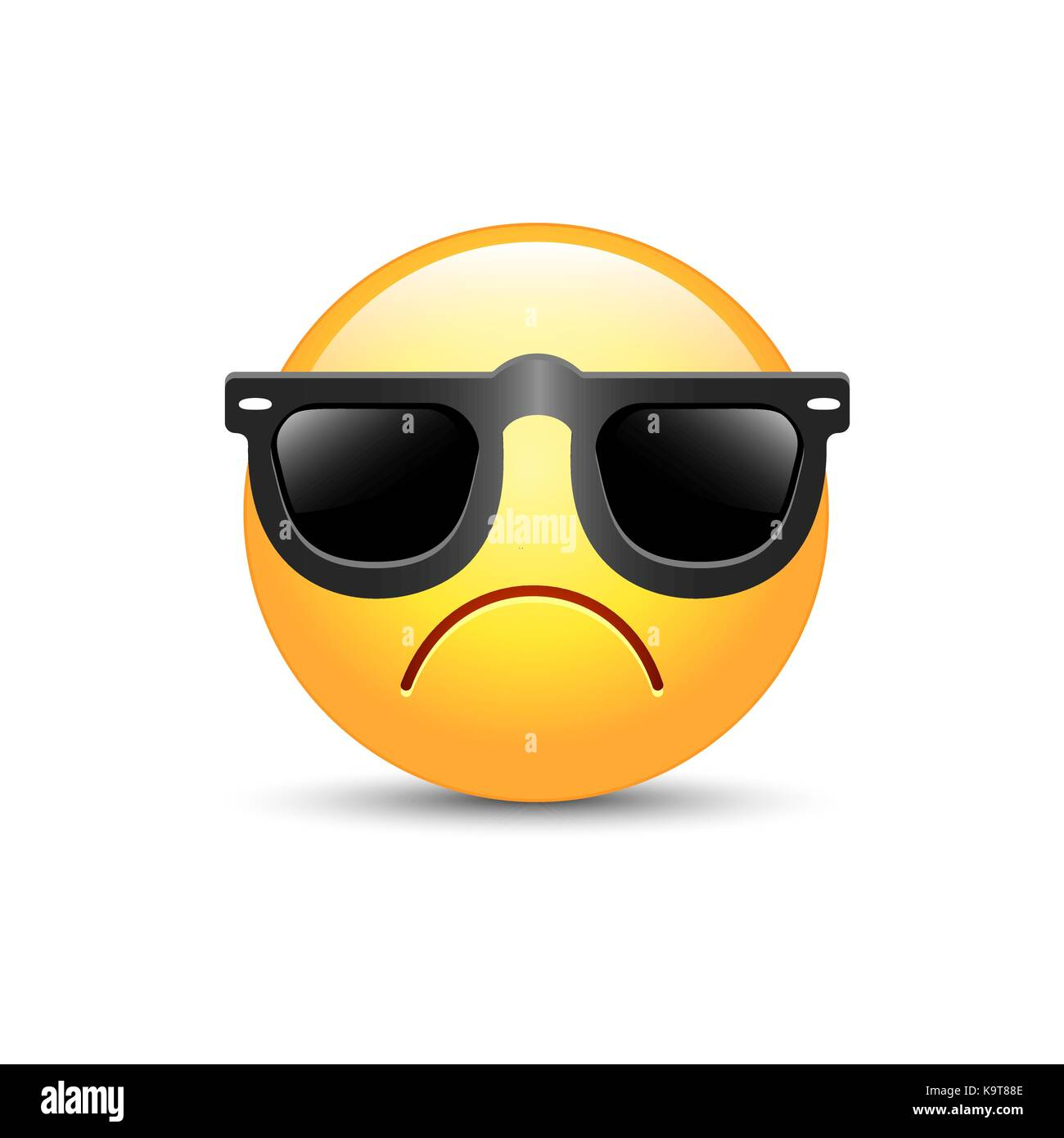 21c1530cfd7 Angry emoji face with sunglasses. Cute sad emoticon wearing black sunglasses