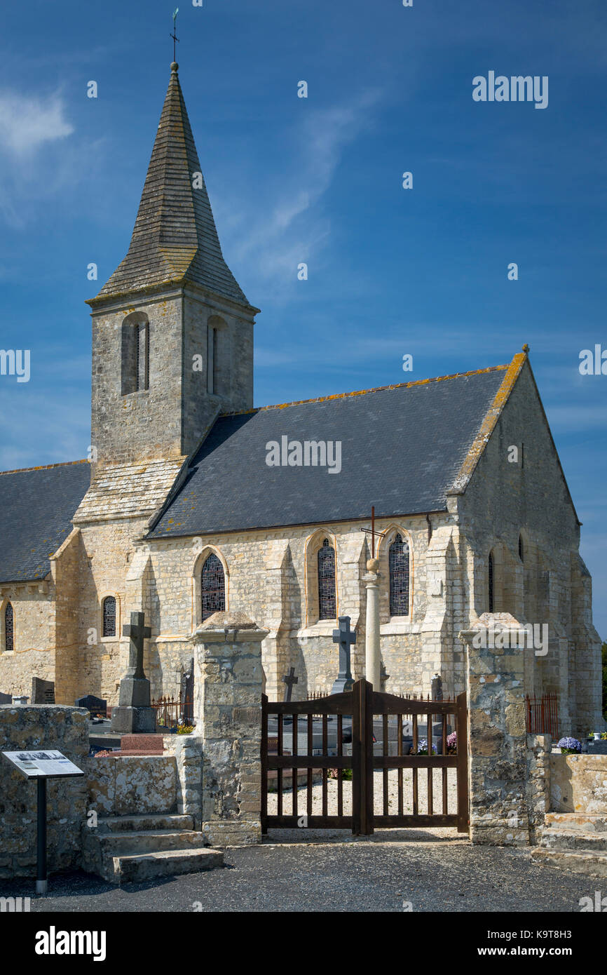 Eglise Saint Pierre, originally built 11th Century, Destroyed on D-Day, and rebuilt in 1950, St Pierre du Mont, - Stock Image