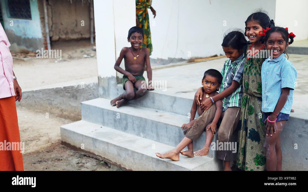 Unidentified Happy Indian rural children Stock Photo