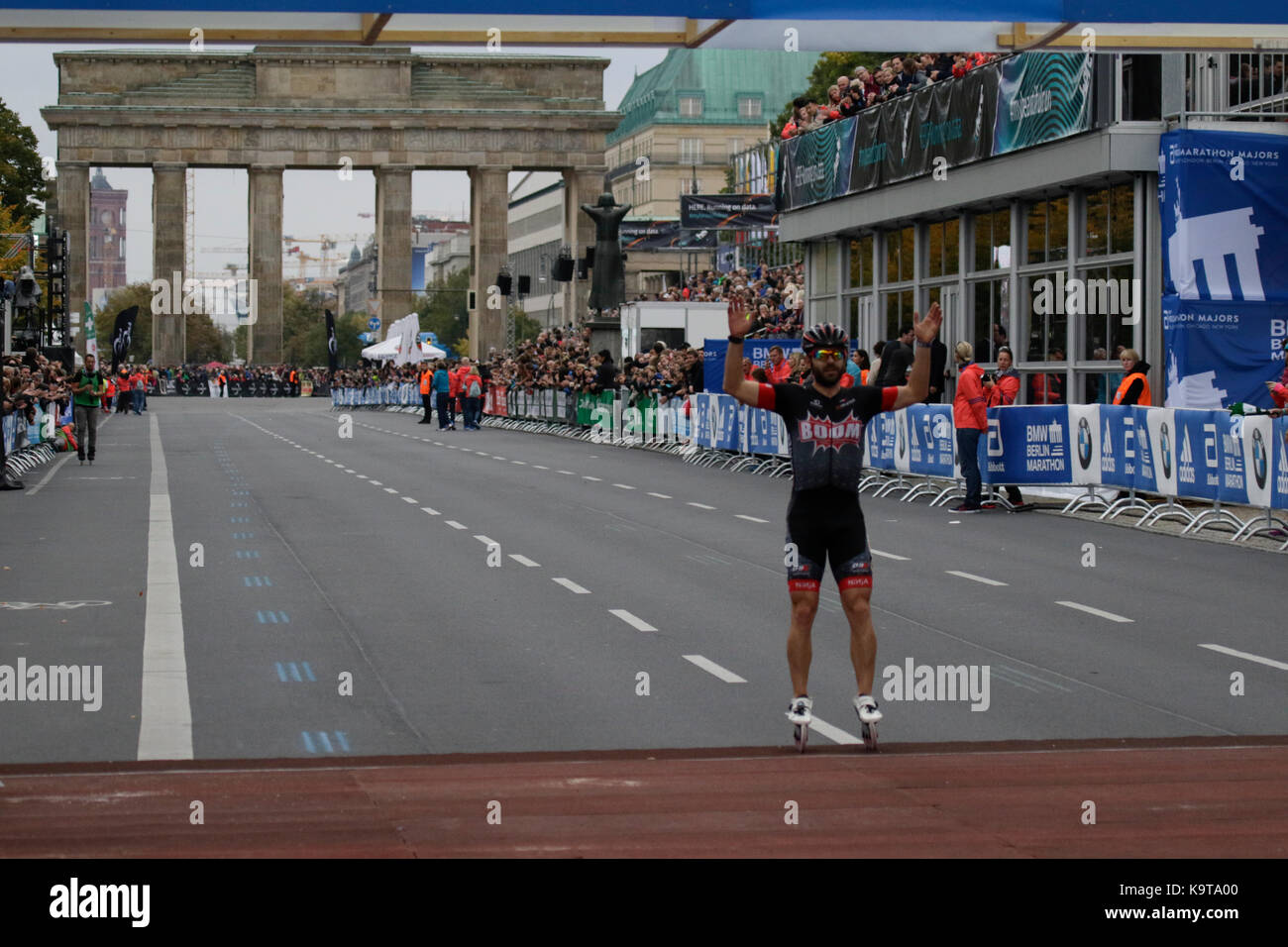 Berlin, Germany. 23rd Sep, 2017. Second place Patxi Peula from Spain crosses the finishing line. Over 5,500 skater took part in the 2017 BMW Berlin Marathon Inline skating race, a day ahead of the Marathon race. Bart Swings from Belgium won the race in 58:42 for the 5th year in a row. Credit: Michael Debets/Pacific Press/Alamy Live News Stock Photo