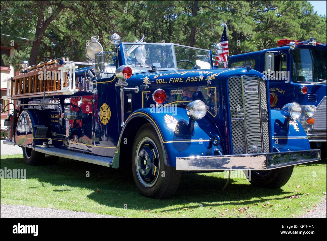 Vintage blue 1949 Ward LaFrance fire truck on display at a fire apparatus muster. - Stock Image